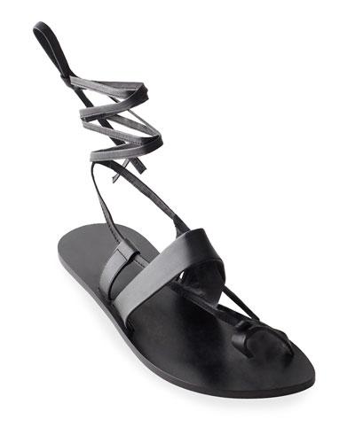 Reid Toe-Ring Ankle-Wrap Flat Sandals