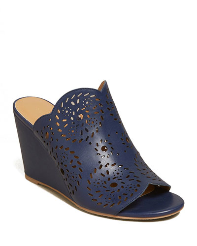 Ronnie Leather Wedge Slide Sandals
