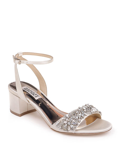 Badgley Mischka Ivanna Satin Block-Heel Sandals