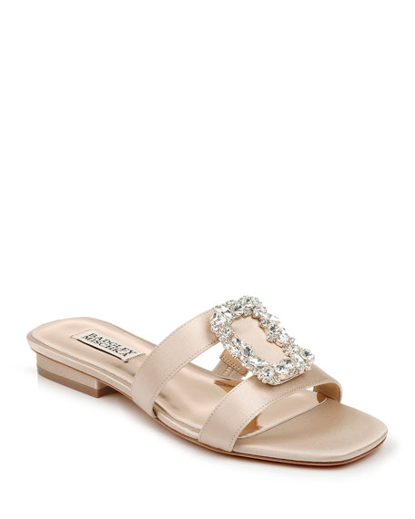 Badgley Mischka Josette Flat Satin Slide Sandals