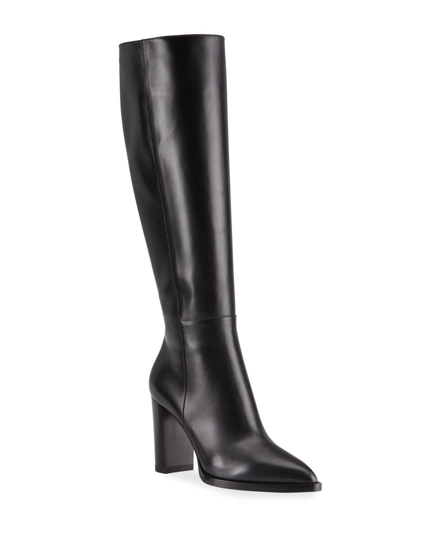 85mm Leather Zip Knee Boots