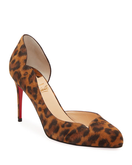 Christian Louboutin Round Chick Leopard-Print Suede Red Sole Pumps