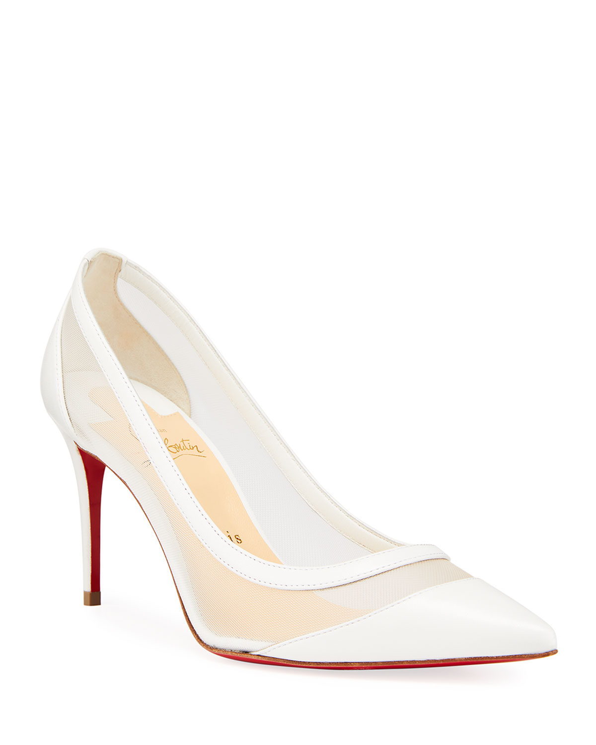 Christian Louboutin GALATIVI 100MM MESH & LEATHER RED SOLE PUMPS