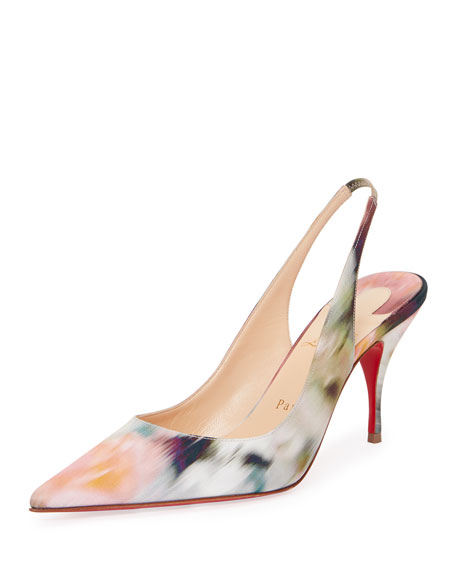 Christian Louboutin Clare Warp-Print Slingback Red Sole Pumps