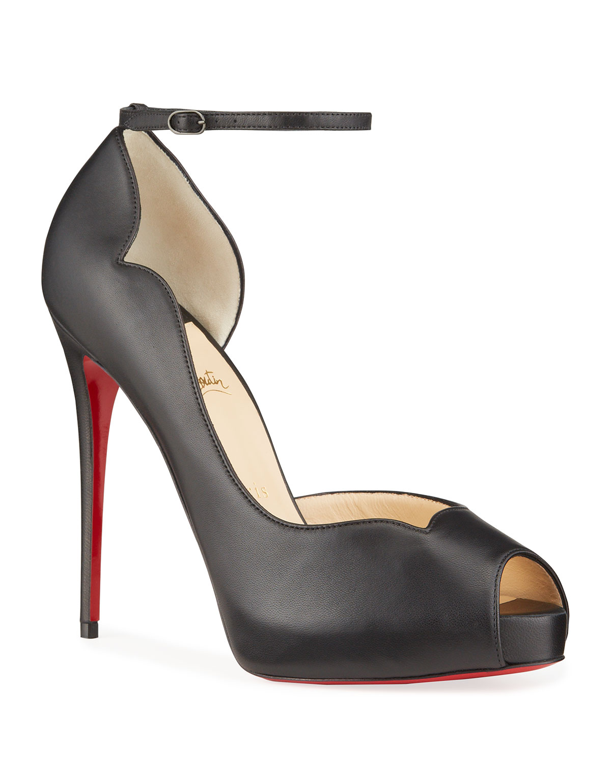 Christian Louboutin ROUND CHICK ALTA RED SOLE PUMPS