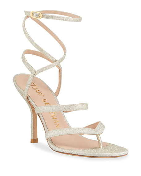 Stuart Weitzman Julina Strappy Glitter Stiletto Thong Sandals
