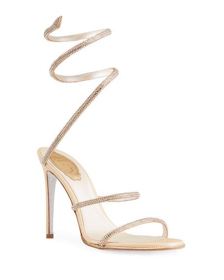 Rene Caovilla Crystal Satin Snake-Coil Sandals