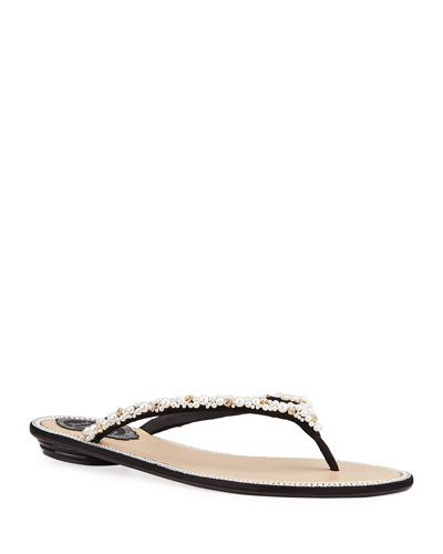 Flat Pearly Thong Sandals