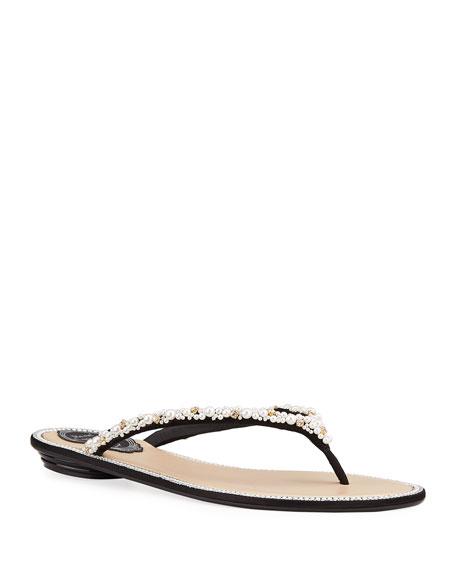 Rene Caovilla Flat Pearly Thong Sandals