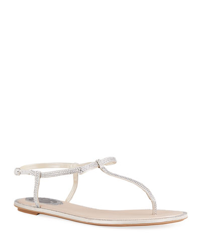 Crystal Bow Flat Sandals