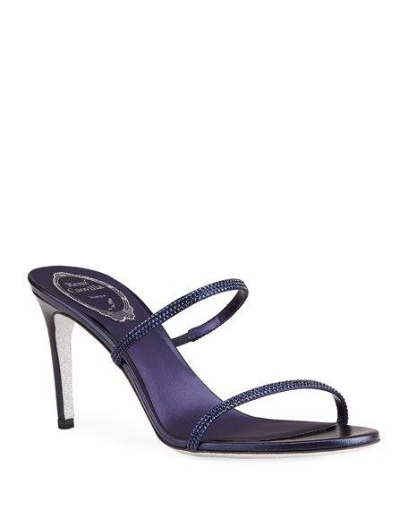 Rene Caovilla Crystal Satin 2-Band Slide Sandals