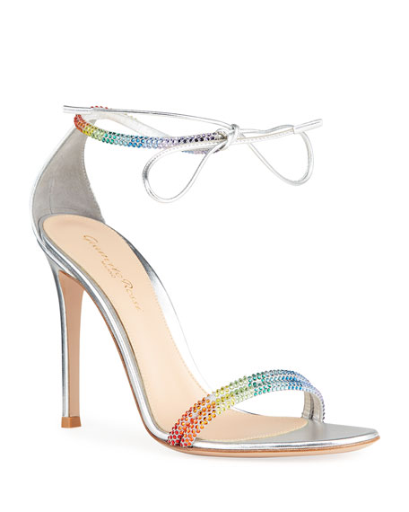 Gianvito Rossi 105mm Rainbow Crystal Stud Ankle-Tie Sandals