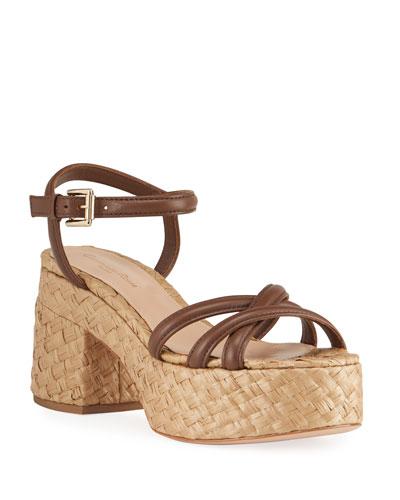 35mm Wicker-Bottom Flatform Sandals