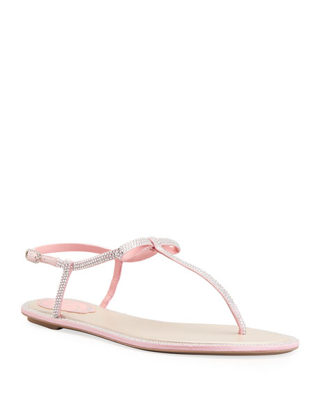 Rene Caovilla Flat Thong Sandals with Bow