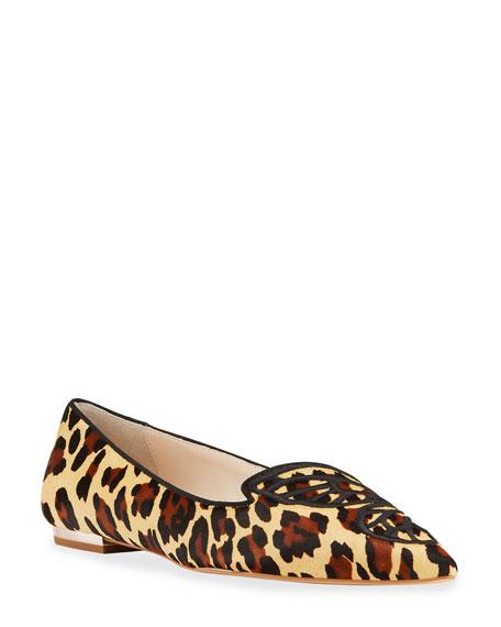 Sophia Webster Bibi Leopard-Print Calf Hair Butterfly Ballerina Flats