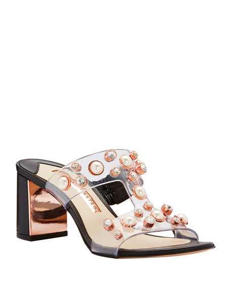 Sophia Webster Dina Pearly Jeweled Slide Mules