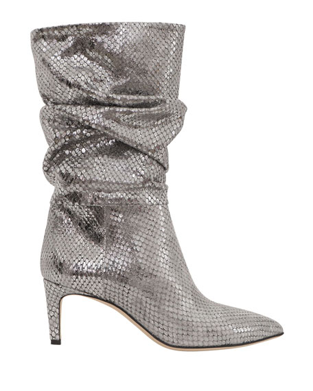 Paris Texas 60mm Slouchy Metallic Python-Print Boots