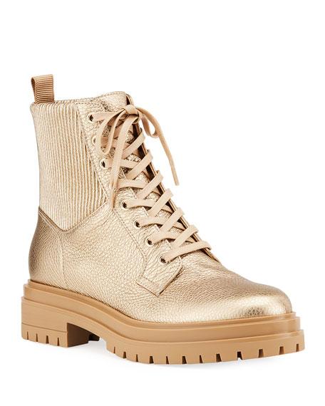Gianvito Rossi Martis Metallic Calf Combat Boots