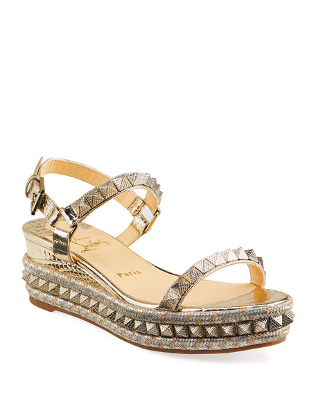 Christian Louboutin Pyraclou Metallic Spike Wedge Sandals