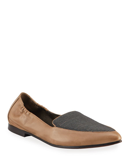 Brunello Cucinelli Soft Leather Loafer Flats With Monili Detail