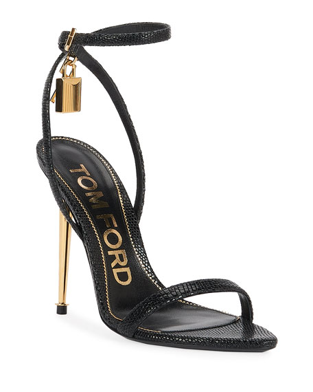 TOM FORD 105mm Lizard-Print Lock Sandals