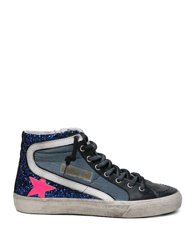 Slide High-Top Fur Glitter Sneakers