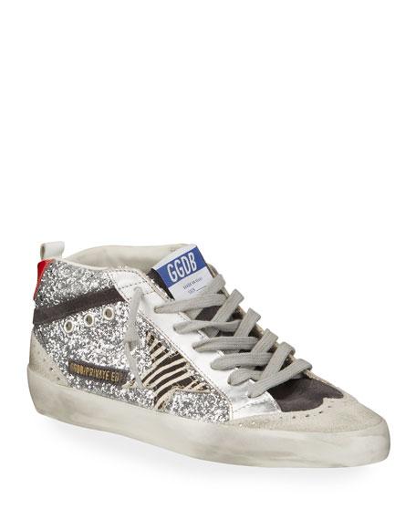 Golden Goose Midstar Glitter High-Top Court Sneakers
