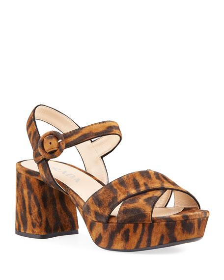Prada 65mm Leopard Suede Crisscross Sandals