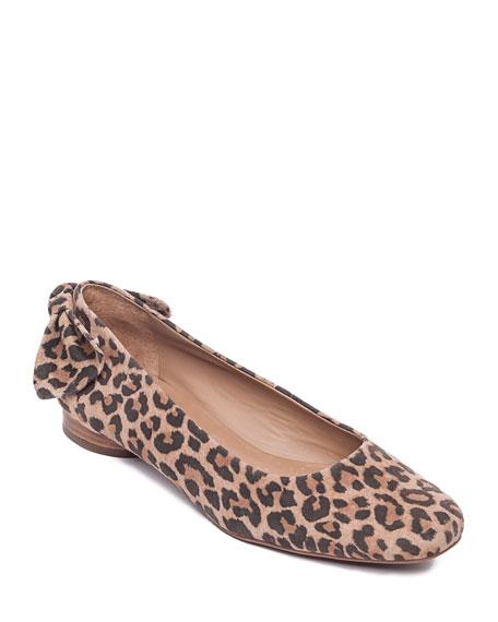 Bernardo Eloise Cheetah Suede Ballerina Flats