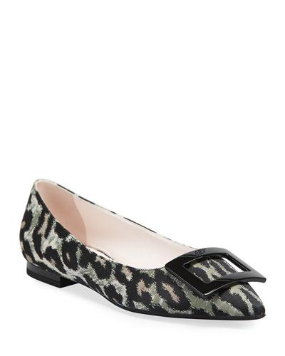 Gommettine Ball Leopard-Print Buckle Ballet Flats