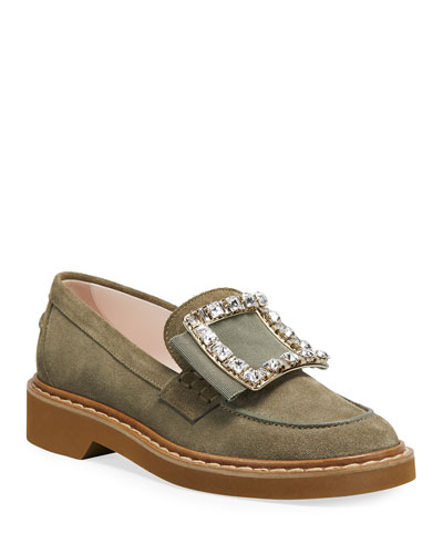 Viv' Rangers Suede Loafers with Crystal Buckle