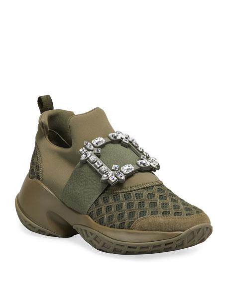 Roger Vivier Viv' Run Crystal Buckle Sneakers