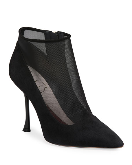 Roger Vivier Suede & Mesh Ankle Stiletto Booties