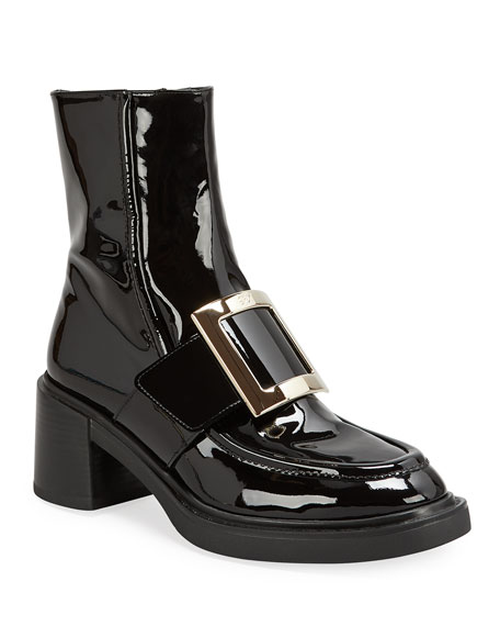 Roger Vivier Viv' Rangers Patent Block-Heel Booties with Metal Buckle