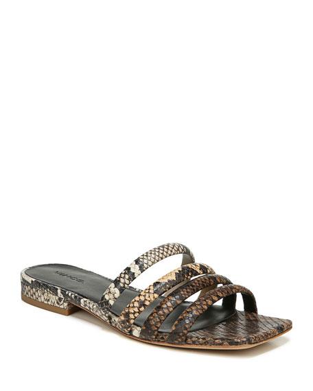 Vince Zahara Snake-Print Flat Slide Sandals