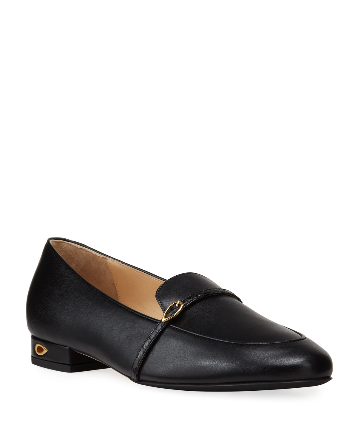 Leather Buckle Slip-On Loafers