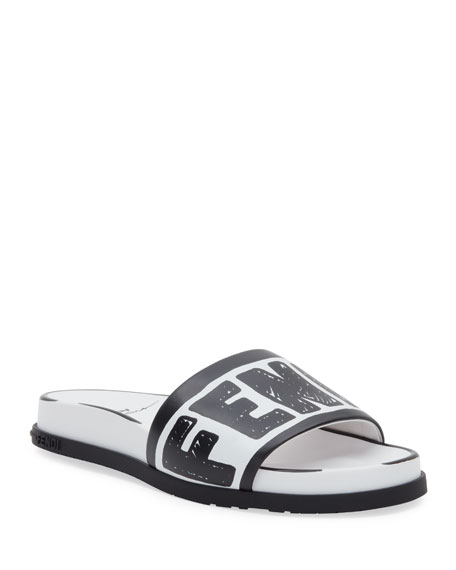 Fendi Logo Pool Flat Slide Sandals