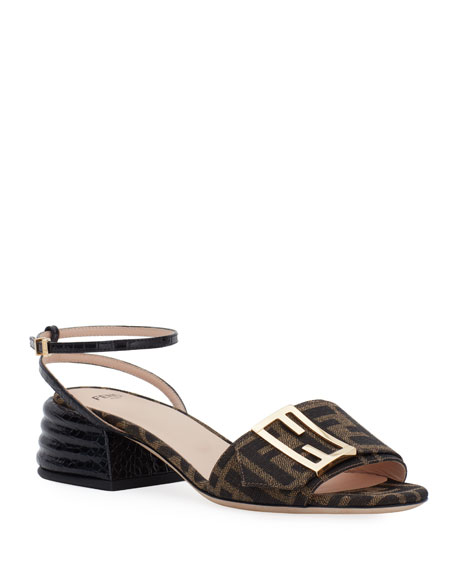 Fendi 35mm FF Buckle Ankle-Strap Sandals