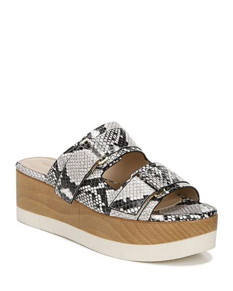 Veronica Beard Welda Snake-Print Slide Sandals
