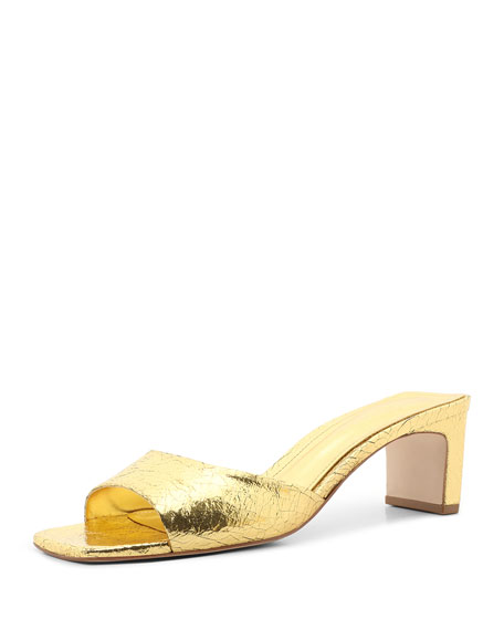 Schutz Queliana Metallic Mule Sandals