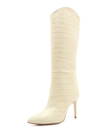Schutz Maryana Croc-Print Leather Knee Boots