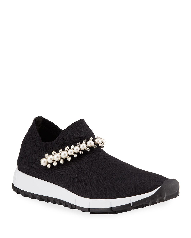 Verona Knit Sneakers w/ Crystal Stud Strap