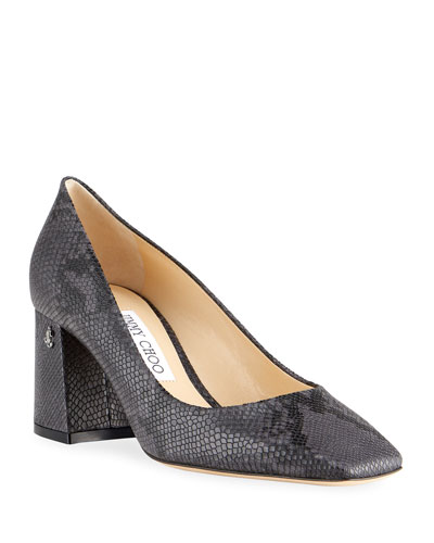 65mm Dianne Snake-Embossed Leather Pumps