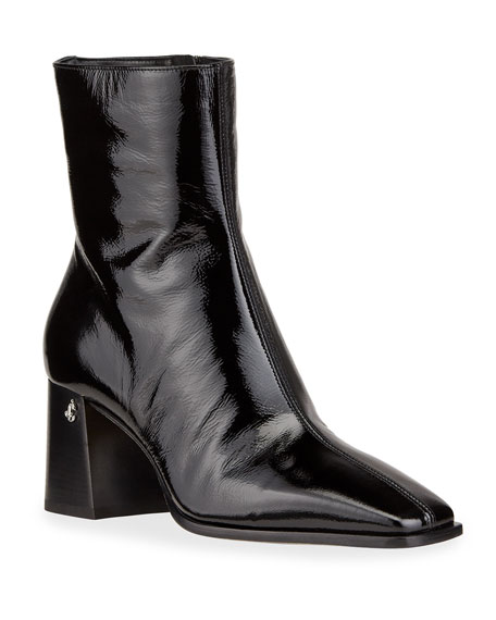 Jimmy Choo Bryelle Wet Leather Zip Booties