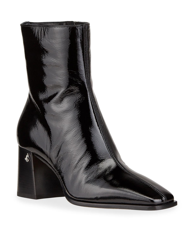 Bryelle Wet Leather Zip Booties