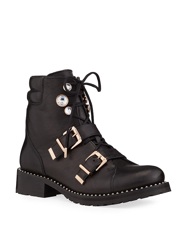 Sophia Webster Ziggy Embellished Leather Biker Boots In Black Pattern