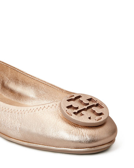 Tory Burch Minnie Metallic Medallion Travel Ballerina Flats