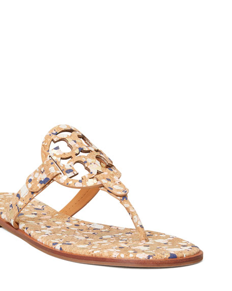 Tory Burch Miller Multicolored Cork Medallion Thong Sandals