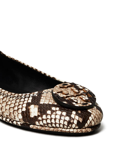 Tory Burch Minnie Snake-Print Medallion Travel Ballerina Flats