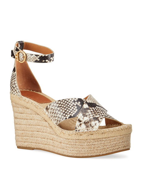 Tory Burch Selby Snake-Print Wedge Platform Espadrilles
